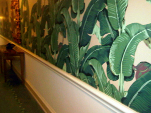 The distinctive wallpaper that covers walls at the Beverly Hills Hotel